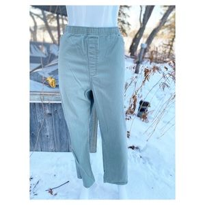 Vtg Green Women's Trousers Jeans Stretch Cotton